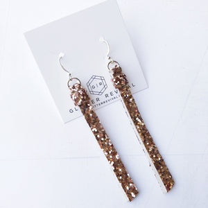 Super Slim Tassel Earrings- Rose Gold Glitter