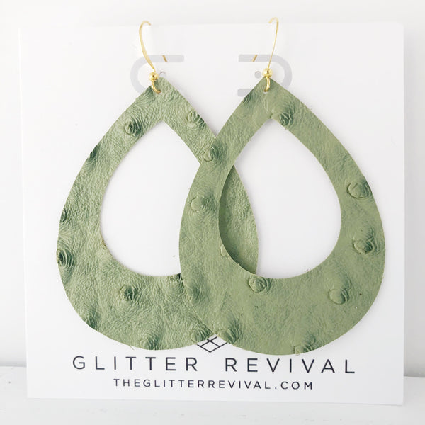 Olive Ostrich Vegan Leather Teardrop Cutout Hoop Earring