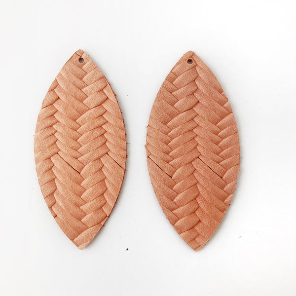 Salmon Braided Genuine Leather Petal Earring