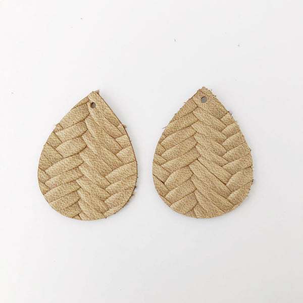 Tan Braided Genuine Leather Petite Teardrop Earring