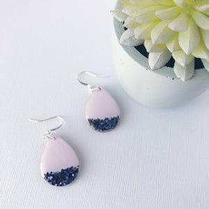 Glitter Dipped Teardrop Earrings- Lavender & Navy