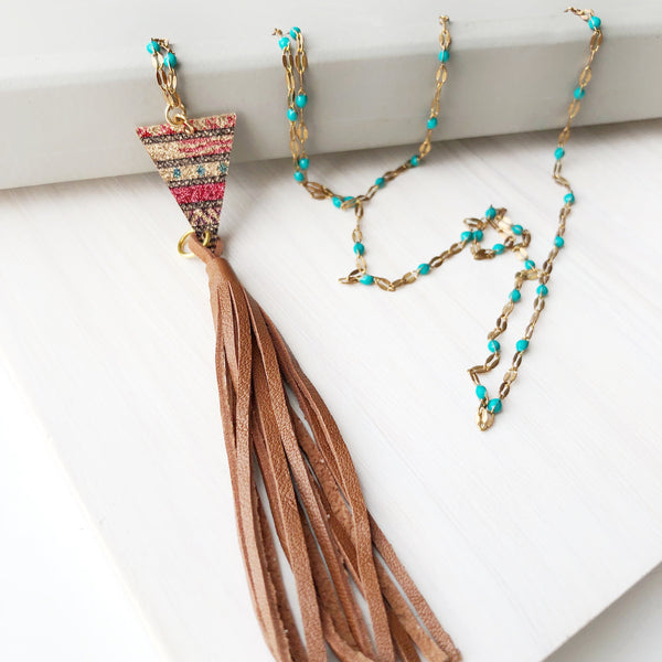 Tribal Triangle Tassel Necklace