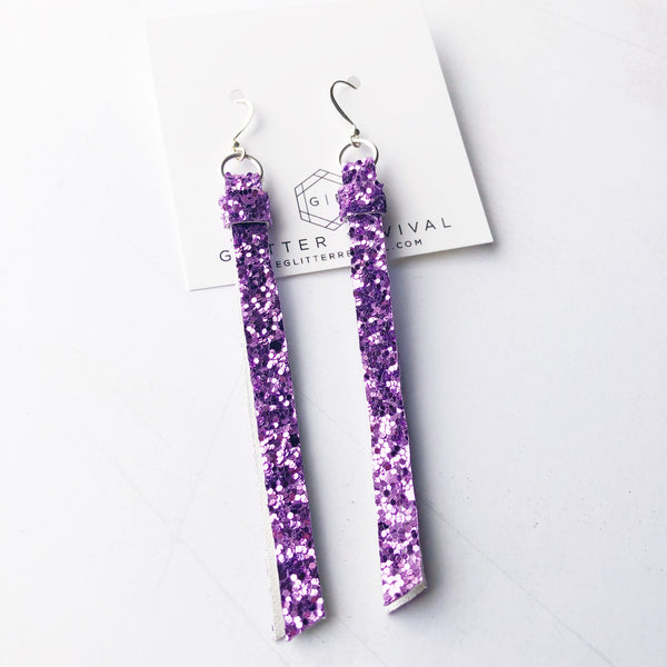Super Slim Tassel Earrings- Lavender