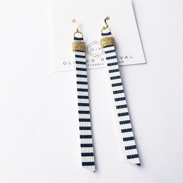 Super Slim Tassel Earrings- Black & White Stripe