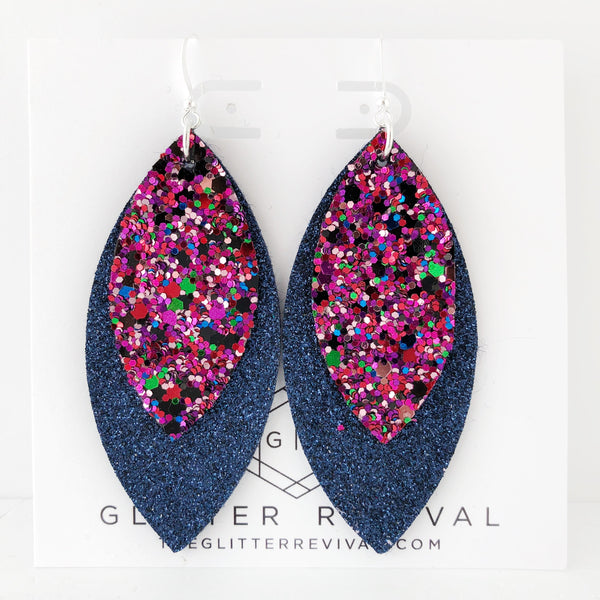 Mixed Berry Glitter Layered Petal Earrings
