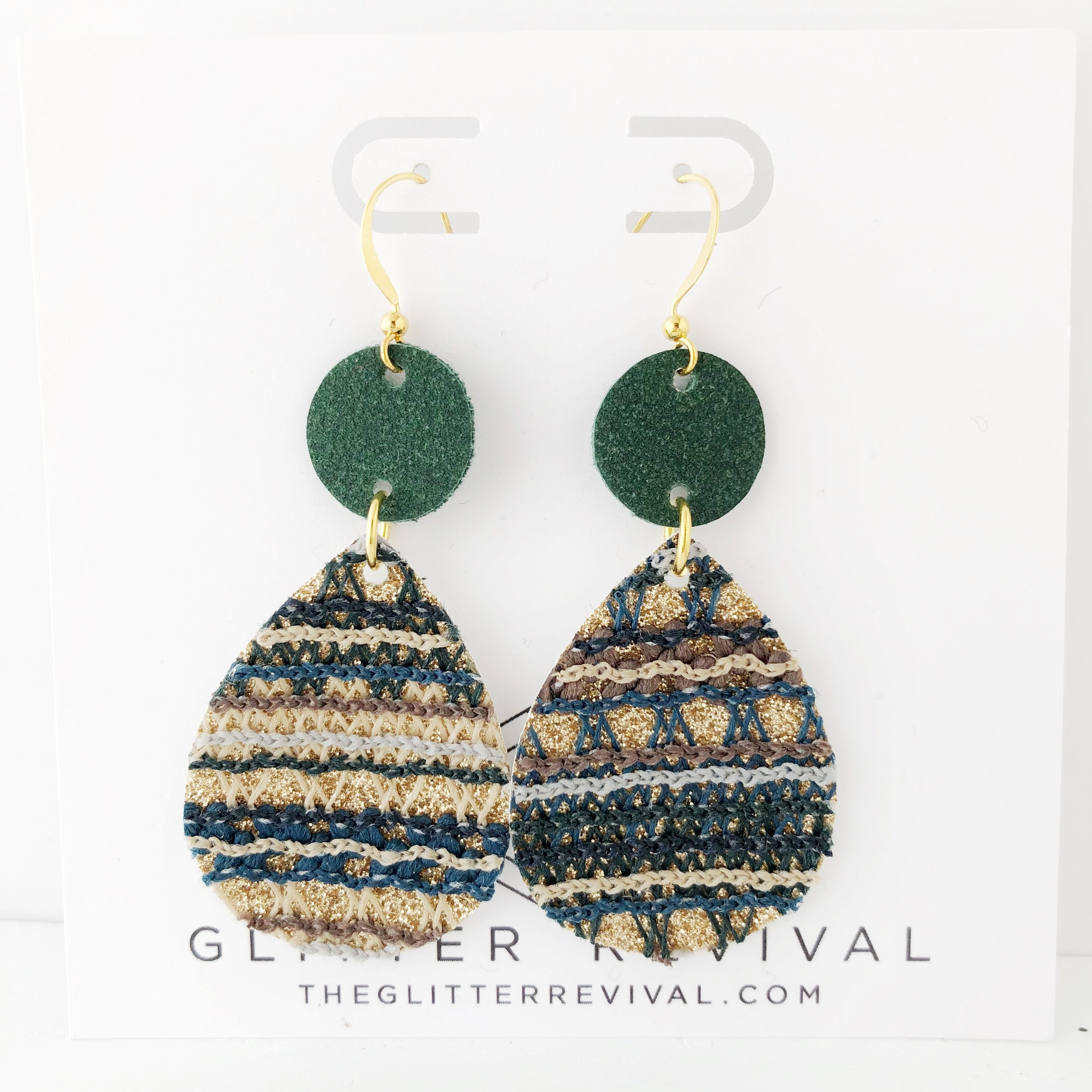 Green Sweater Stripe Geometric Earrings