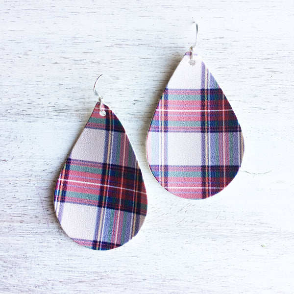 Lavender Plaid Vegan Leather Earrings