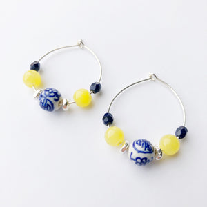 Emperor Petite Beaded Hoop Earrings
