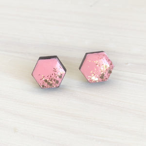Glitter Dipped Hexagon Studs- Pink & Gold