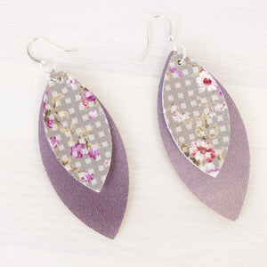 Lavender Gingham Layered Petal Earrings