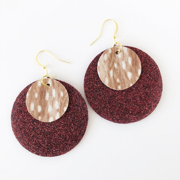 Burgundy Deer Layered Circle Earrings