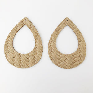 Tan Braided Genuine Leather Teardrop Cutout Hoop Earring