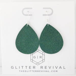 Hunter Green Vegan Suede Petite Teardrop Earring