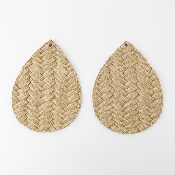 Tan Braided Genuine Leather Jumbo Teardrop Earring