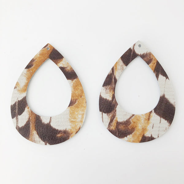 Pheasant Genuine Leather Teardrop Cutout Hoop Earring