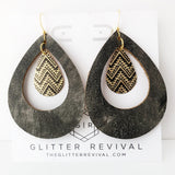 Mayan Ruin Leather Hoop Earrings