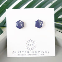 Glitter Dipped Hexagon Studs- Frosted Plum