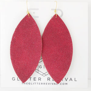 Red Vegan Glitter Suede Petal Earring