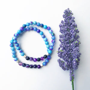 Amethyst & Blue Jade Beaded Stretch Bracelet