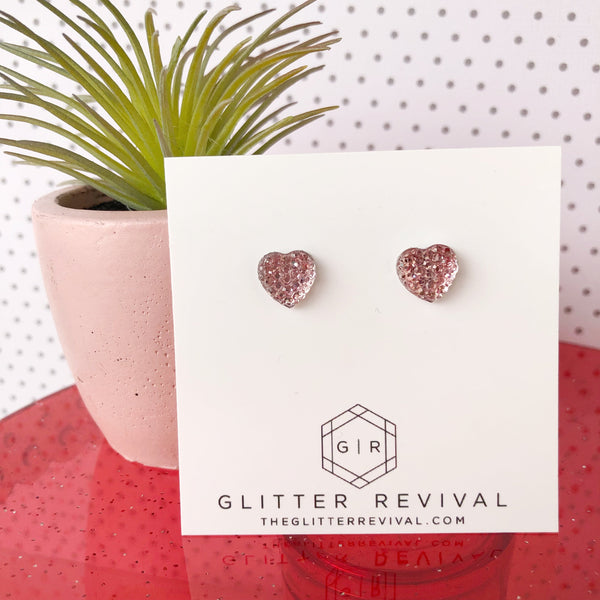 Tiny Heart Resin Studs for Girls