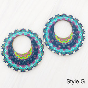 Mandala Style Wood Earrings