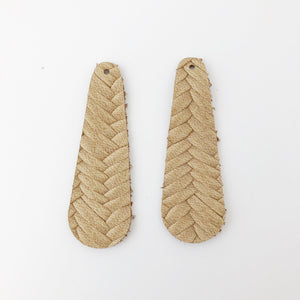 Tan Braided Genuine Leather Simple Drop Earring