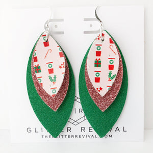 Peppermint Mocha Large Triple Petal Earrings