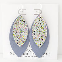 Lavender Glitter Layered Petal Earrings