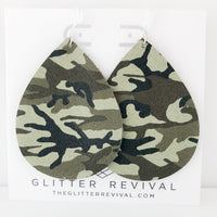 Camo Genuine Leather Jumbo Teardrop Earring