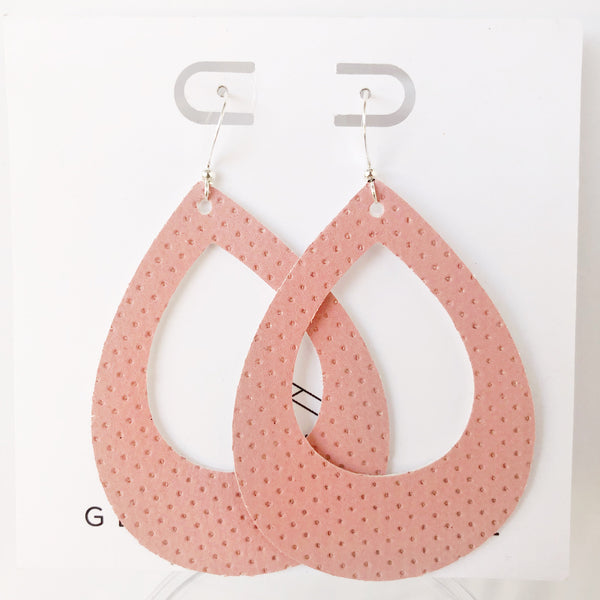 Pink Perforated Vegan Suede Teardrop Cutout Hoop Earring