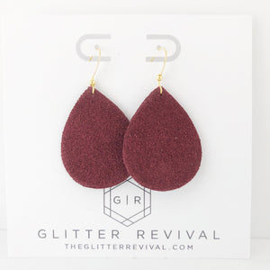 Burgundy Genuine Suede Petite Teardrop Earring