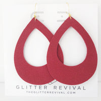 Red Vegan Suede Teardrop Cutout Hoop Earring