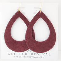 Burgundy Genuine Suede Teardrop Cutout Hoop Earring