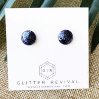 Round Resin Glitter Studs- Black Hole