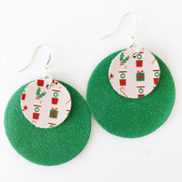 Peppermint Latte Layered Circle Earrings