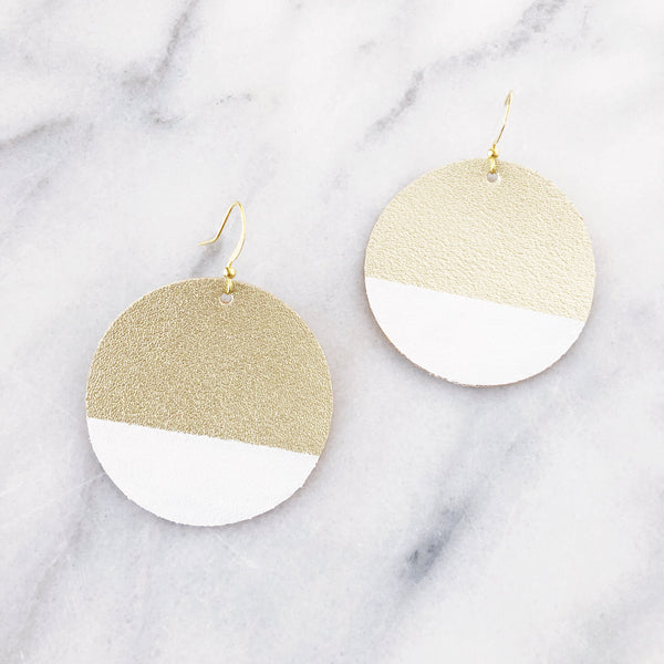 Matte Gold and White Dipped Round Earrings