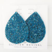 Teal Glass Glitter Jumbo Teardrop Earring