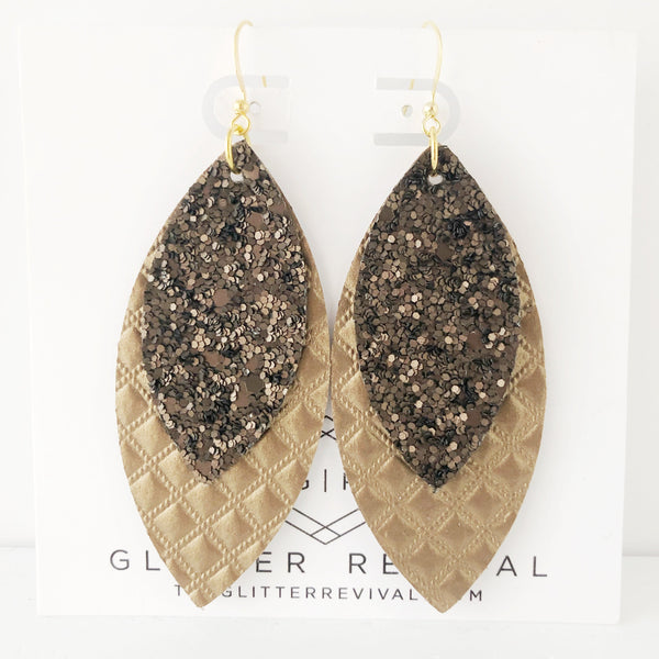 Quilted Chocolate Layered Petal Earrings