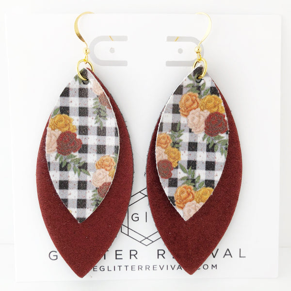 Burgundy Fall Gingham Layered Petal Earrings