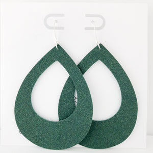 Hunter Green Vegan Suede Teardrop Cutout Hoop Earring