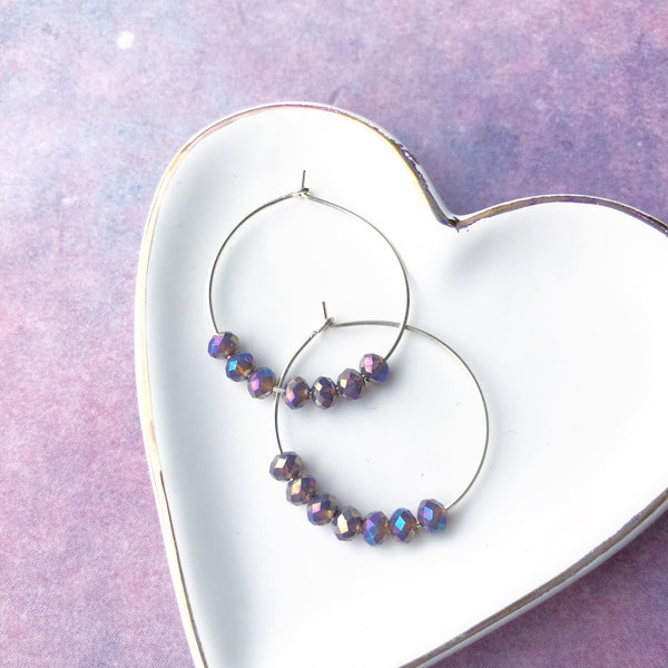 Nebula Petite Beaded Hoop Earrings