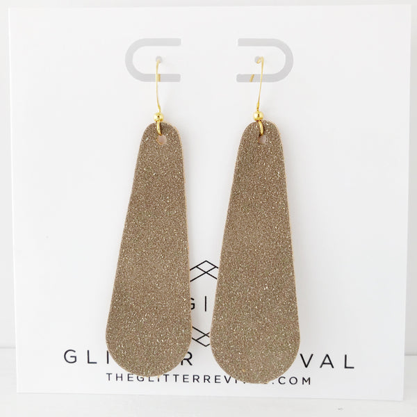 Mink Vegan Glitter Suede Simple Drop Earring