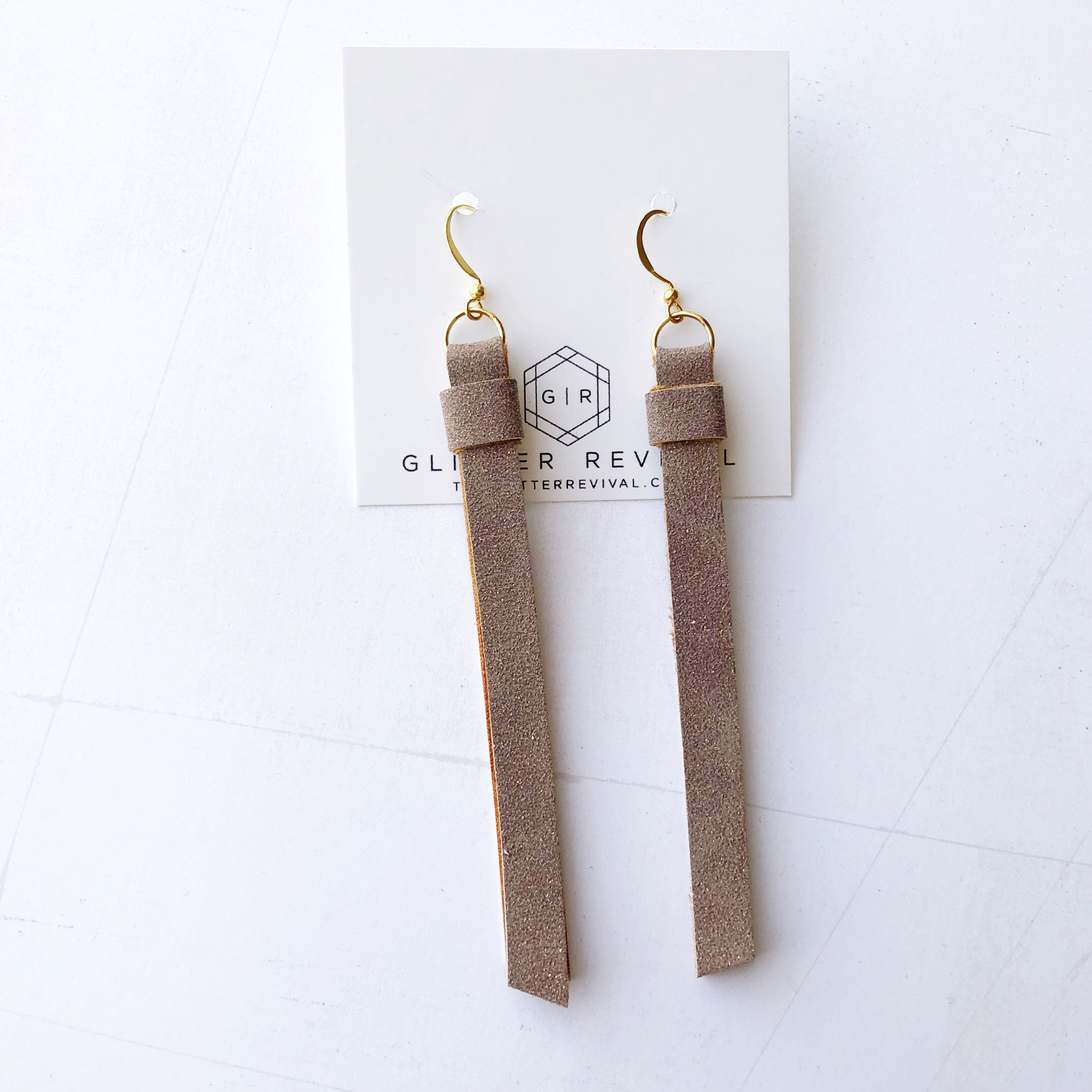 Super Slim Tassel Earrings- Mink Glitter Suede