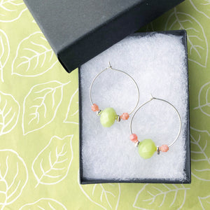 Spring Blossom Petite Beaded Hoop Earrings
