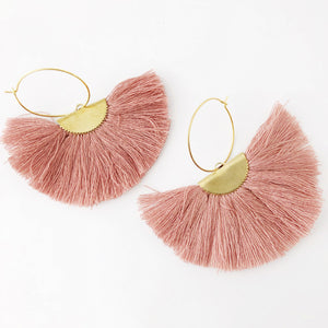 Mauve Fanfare Tassel Hoop Earrings