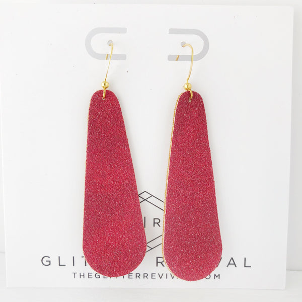 Red Vegan Glitter Suede Simple Drop Earring