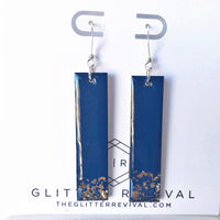 Glitter Dipped Rectangle Bar Earring- Navy & Gold