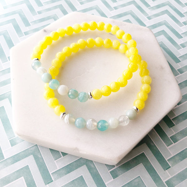 Lemon Jade & Aqua Agate Beaded Stretch Bracelet