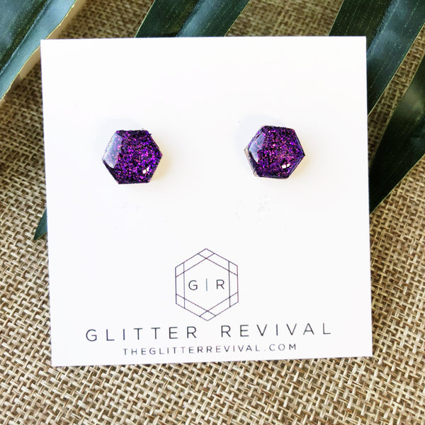 Glitter Hexagon Studs- Intense Purple