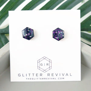 Glitter Hexagon Studs- Galaxy